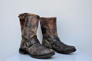 FRYE-Veronica-DISTRESSED-Mid-Calf-Short-Boots-Moto-Engineer-Chocolate-Brown-7-B