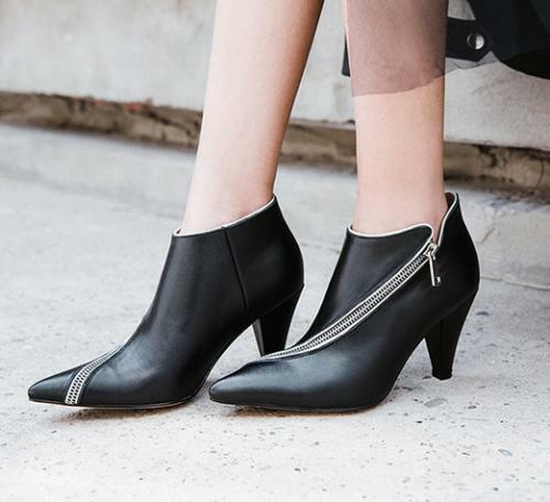 Womens Leather Pointed Pointed Pointed Toe Zipper Ankle Riding Boots Med Kitten Heelsshoes b188de