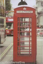 Plaque CABINE TELEPHONIQUE rouge bus LONDON londres en METAL tole cadre NEUF
