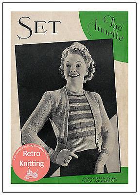 1940s Striped Twin Set Vintage Knitting Pattern Copy