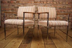 60er-Stuhl-Sessel-Chrom-amp-Holz-Vintage-Lounge-Armlehnstuhl-MidCentury-1-von-30