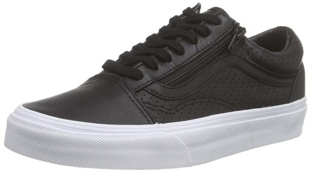 black leather perforated vans