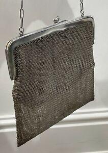 Antique Sterling Silver Hallmarked 1918 Chain Mail Evening Bag Purse 352g