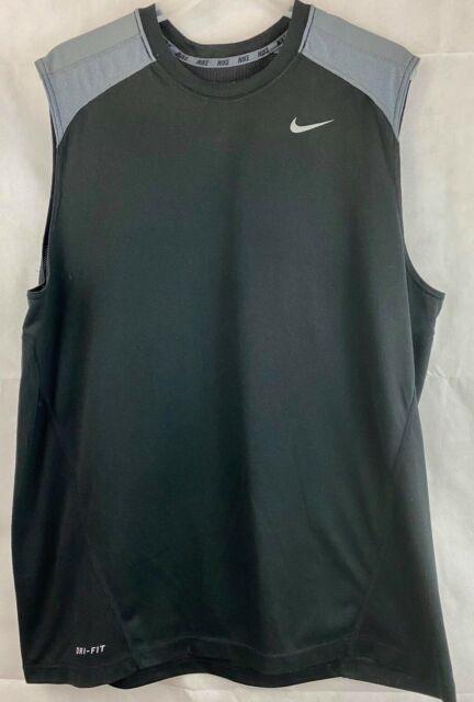 Nike Dri Fit Black Tank Top Sleeveless Shirt Size Large L Basketball S3