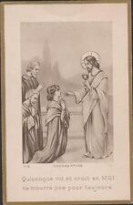 IMAGE PIEUSE HOLY CARD SANTINI QUICONQUE VIT ET CROIT EN MOI - CHRIST