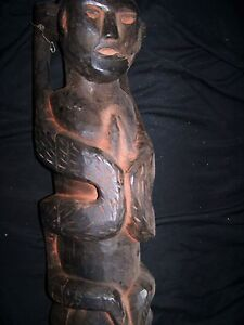 Asian Antiques Able Orig Nepal Shaman Preghiera Figura W/2 Snakes On Lati Other Asian Antiques Inizio 1900s
