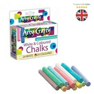 48-Pcs-Mixed-Colour-amp-White-Chalk-Sticks-Kids-Playground-School-Art-Learning