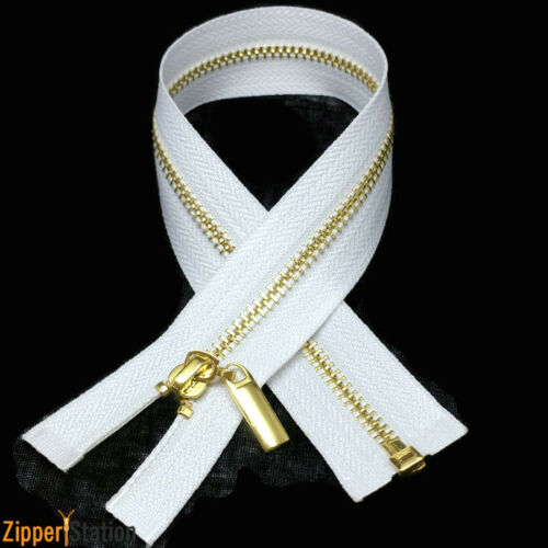 White #3 Open End Metal Zips Silver #3OE Gold Chrome N3 zippers