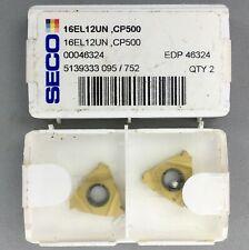 2 Pieces Seco 16el 12un Carbide Threading Inserts Grade Cp500 Machinist
