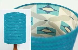Retro-Fabric-Lampshade-Genuine-70s-Fabric-25cm-30cm-Drum-Blue-Geometric-Grey