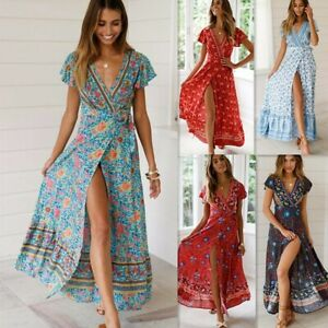 UK-Women-Wrap-Boho-Floral-Paisley-Maxi-Dress-Ladies-Summer-Holiday-Beach-dersses