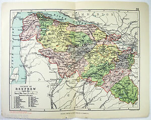 Original 1891 Map of The County of Renfrew, Scotland by G. Philip & Son