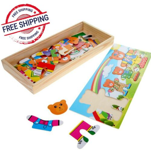 Wooden Toys Baby Bear Changing Clothes Puzzle Set Children Kids Educational Gift