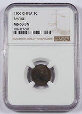 CHINA Empire 1906 2 CASH Copper Coin NGC MS63 BN Y #8 Hu Poo Brown Uncirculated