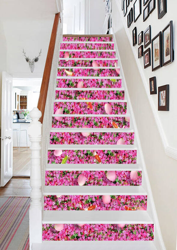 3D Flowers Fishes 3 Stair Risers Decoration Photo Mural Vinyl Decal Wallpaper AU