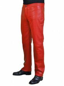 Leather Jeans Men s Pants Straight Rock Revival Legging Slim Lambskin Black 28