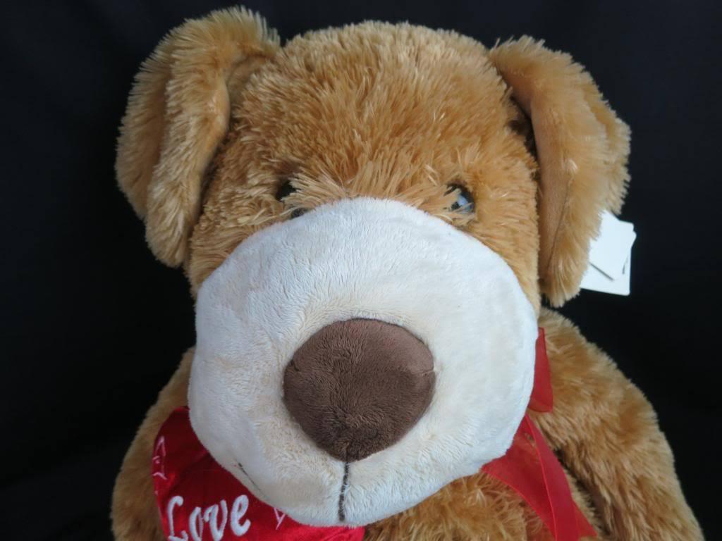 BIG JUMBO NEW WALMART VALENTINE I LOVE YOU HEART braun PUPPY DOG TAN PLUSH TOY