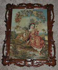 "Stunning 27""x 21"" Antique 19th Needlepoint Panel Young Girl Deer Rosewood Framed"