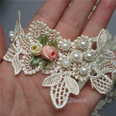 5 yards Flower Pearl Lace Edge Trim Wedding Bridal Ribbon Applique Sewing Crafts