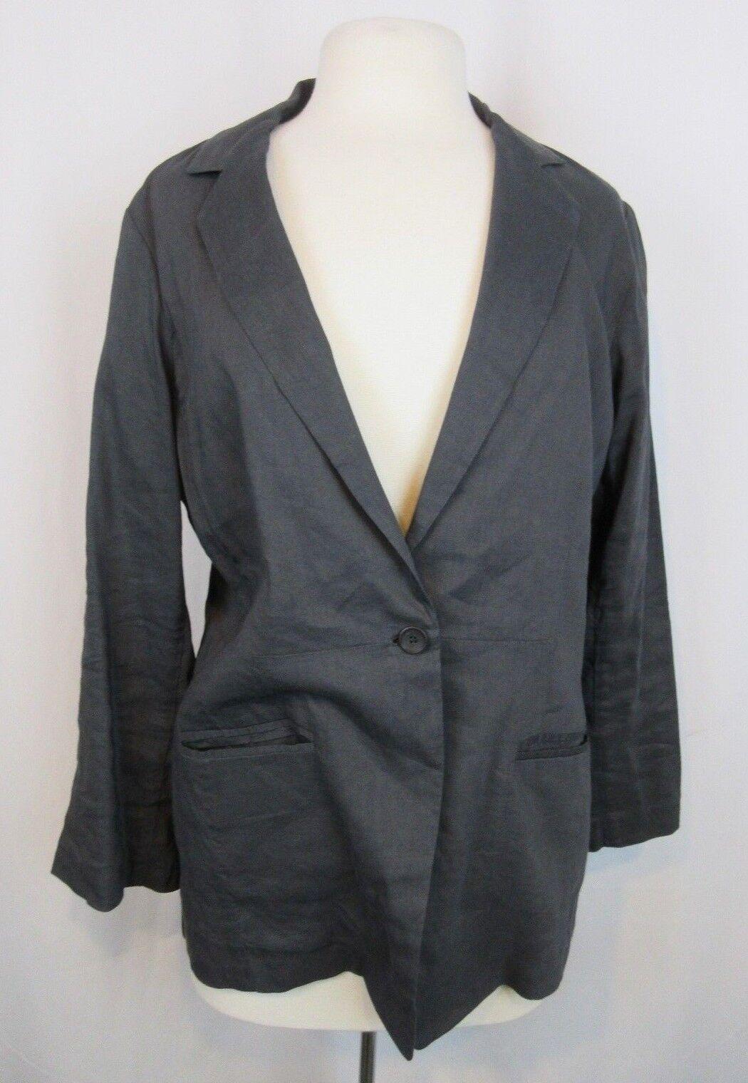 Eileen Fisher Charcoal Grey 1-Button Linen Blend Casual Blazer Sz 12