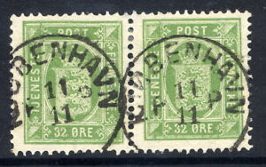 DENMARK-1875-Official-32-re-perforated-14-x-13-yellow-green-used-pair