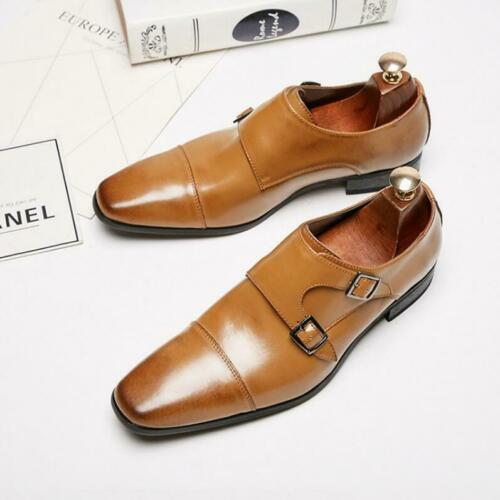 Mens Buckle Strap Shoes Square Toe Genuine Leather Oxfords Dress Formal Wedding