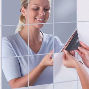 9-x-Stickers-Effet-Miroir-Decoration-Murale-Autocollant-Carre-Adhesif-Argente
