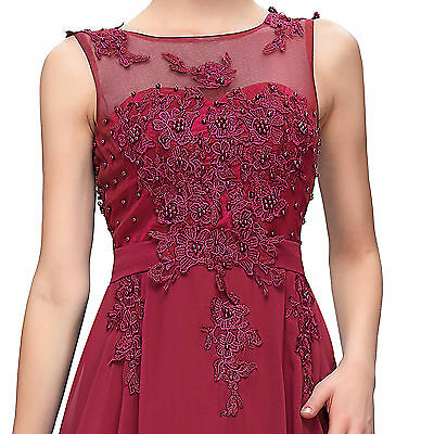 APPLIQUE V Back Sexy Long Formal Prom Dress Party Bridesmaid Evening Ball Gowns