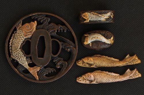 TOP QUALITY JAPANESE SWORD KOSHIRAE TSUBA + FUCHI + KASHIRA + MENUKI