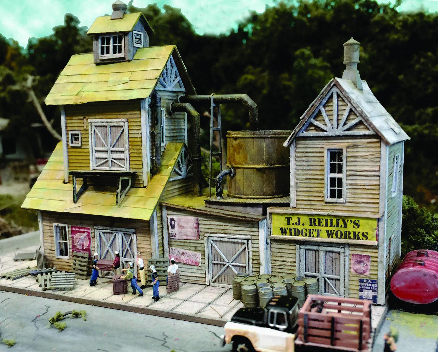 BAR MILLS 161 N Scale TJ Reilly Widget Works Building Railroad Kit FREE SHIP