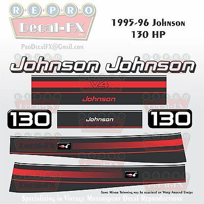 1997-98 Johnson 50 HP Outboard Reproduction 4 Pc Marine Vinyl Decals 3 Cylinder