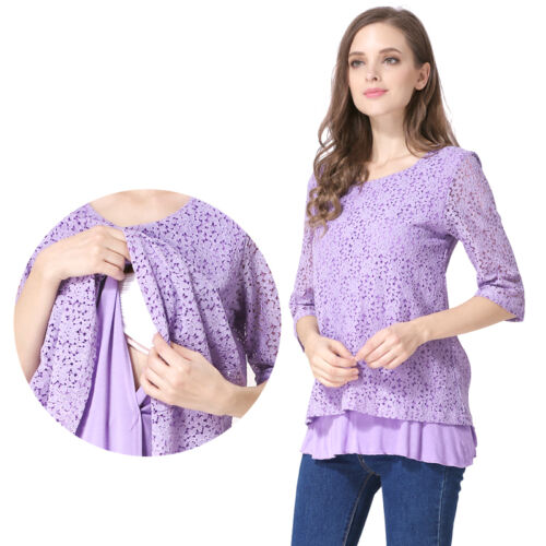 Hot Maternity Clothes Breastfeeding Tops Nursing T-shirts Lace pregnancy Clothing