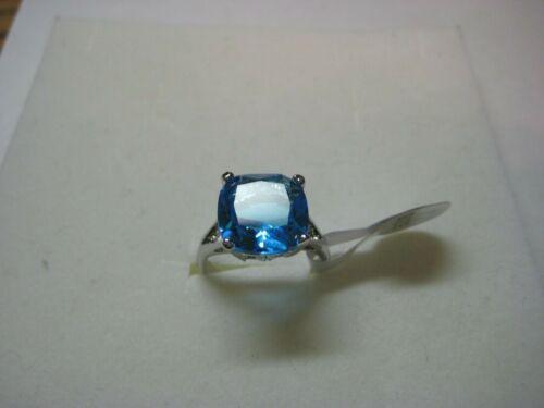 Mesdames Bague avec 3.40ctw bleu ciel Zircon Cubique Pierre en argent sterling 925