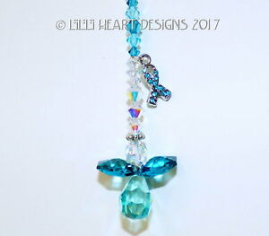 m/w Swarovski RARE Teal Awareness Ribbon Angel SunCatcher Lilli Heart Designs