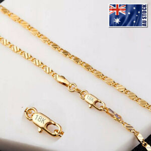 Stunning-18K-Yellow-Gold-GP-2mm-Flat-Link-Chain-Necklace-For-Pendant-Wholesale