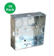 10 X SINGLE METAL PATRESS BACK BOX 25MM 1 GANG ELECTRICAL PATTRESS SWITCH SOCKET