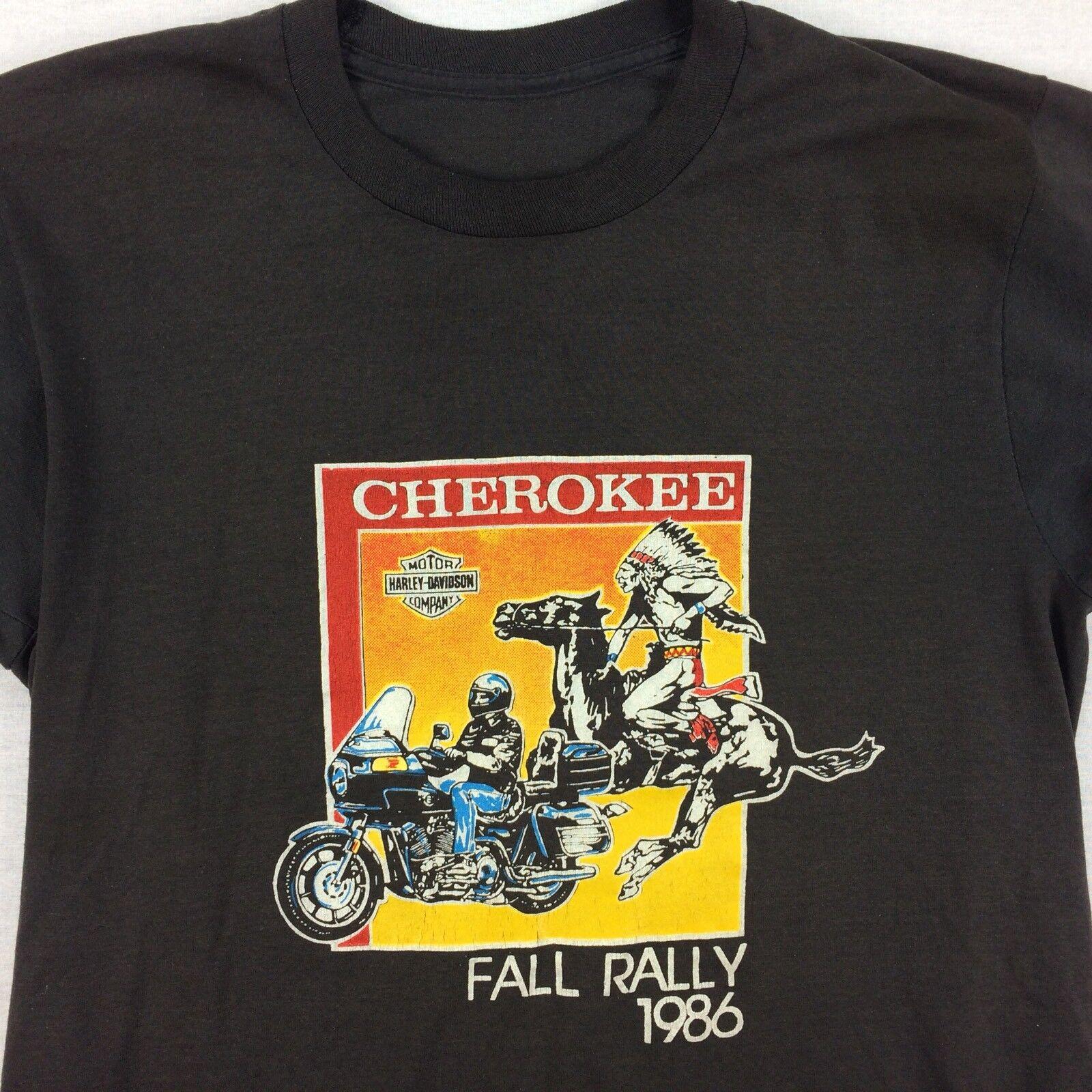 VTG Distressed Faded 80s Harley-Davidson T-shirt MEDIUM Cherokee Fall Rally 86'