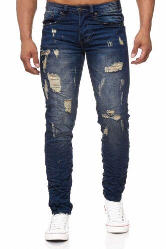 Herren Jeans Destroyed Flecken Löcher Risse Stone Washed Frayed Used