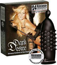 Preservativi profilattici neri Secura Dark Desire 24 Pezzi - Erizon Sexy Shop