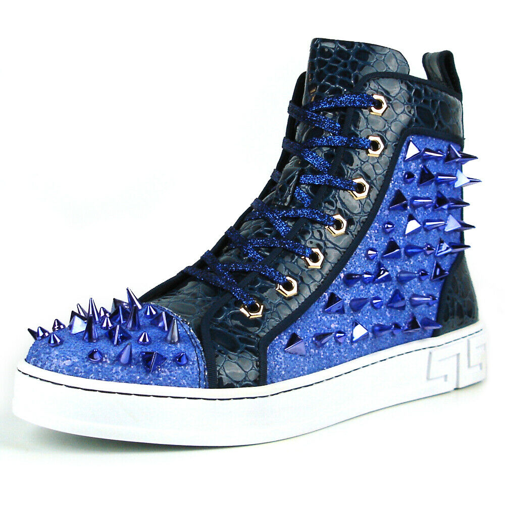 FI-2369 Blue Glitter Blue Spikes Lace up High top Sneaker Encore by Fiesso