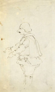 Caricature Study Man in Doublet & Breeches –Early 19th-century pen & ink drawing