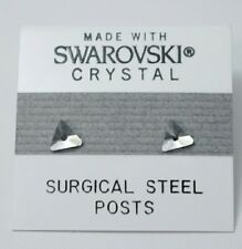 6mm Small Silver Crystal Triangle Stud Earrings Made with SWAROVSKI ELEMENTS