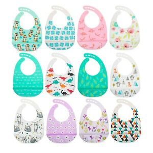 Nuby-2-Pack-Adjustable-Soft-Silicone-Bibs-with-Scoop-Easy-Clean-Boy-or-Girl