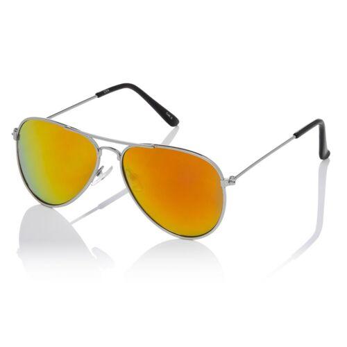 Childrens Kids Silver with Burnt Orange Lenses Classic Style Pilot Sunglasses UV