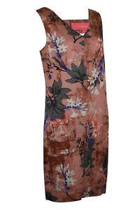 Womens-White-Pink-Floral-Pocket-V-Neck-Sleeveless-Summer-Linen-Blend-Dress