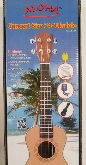 Aloha Ail 214r Concert Ukulele With Gig Bag Tuner For Sale Online Ebay