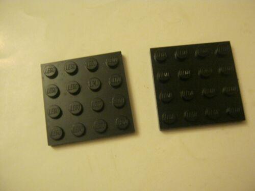 Lego Lot Of 2 Black 4x4 plate Bricks 028-21