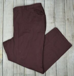 Woman-Within-Plus-Twill-Pants-Straight-Leg-Elastic-Waist-Casual-Puce-32W-Tall