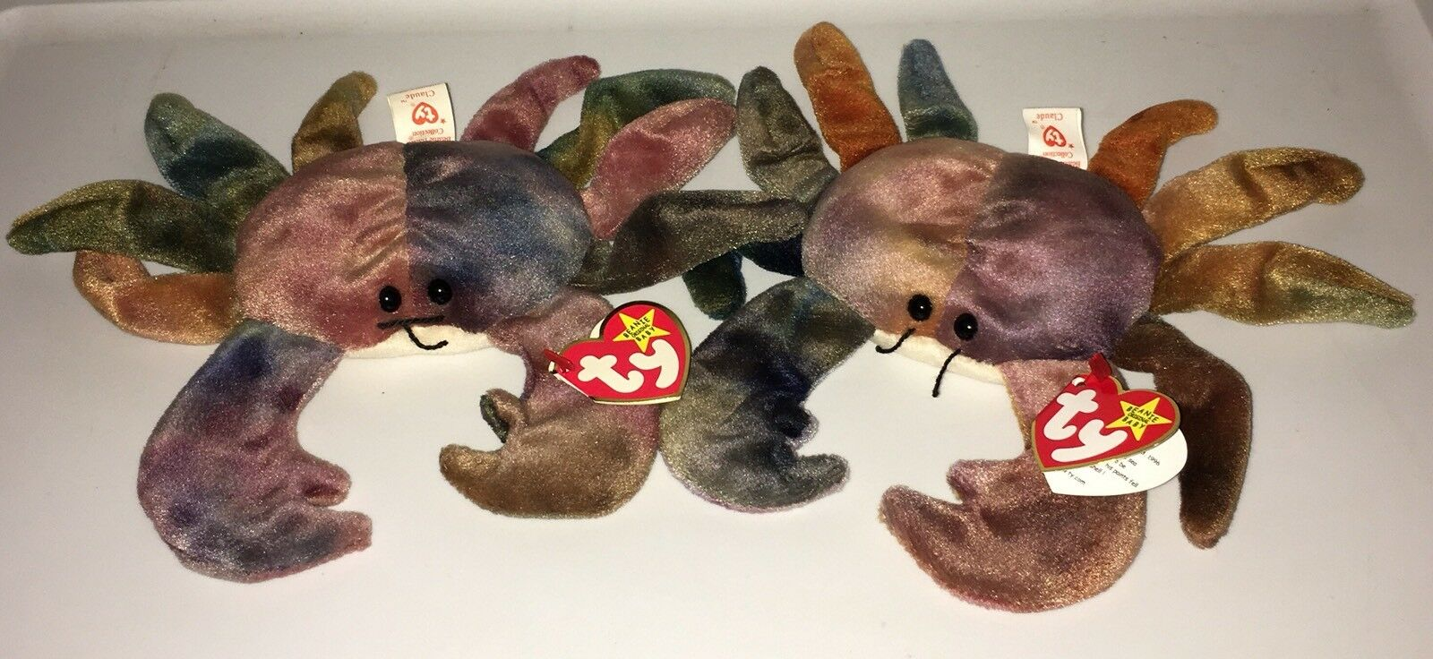 2 AUTHENTIC TY BEANIE BABY CLAUDE THE CRAB RETIRED W TAGS
