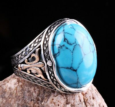Men Brown Turquoise Gemstone Silver Ring Vintage Men Accessories Top Quality Fashionable Valentine Days Gift Solid 925 Sterling Silver